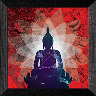 Ritwikas Abstract Wall Art of Meditating Buddha With Frame for Home and Office Decor | 13.5 inch x 13.5 inch | Multi Color...
