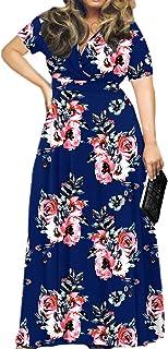 Sponsored Ad - POSESHE Women's Solid V-Neck Short Sleeve Plus Size Evening Party Maxi Dress