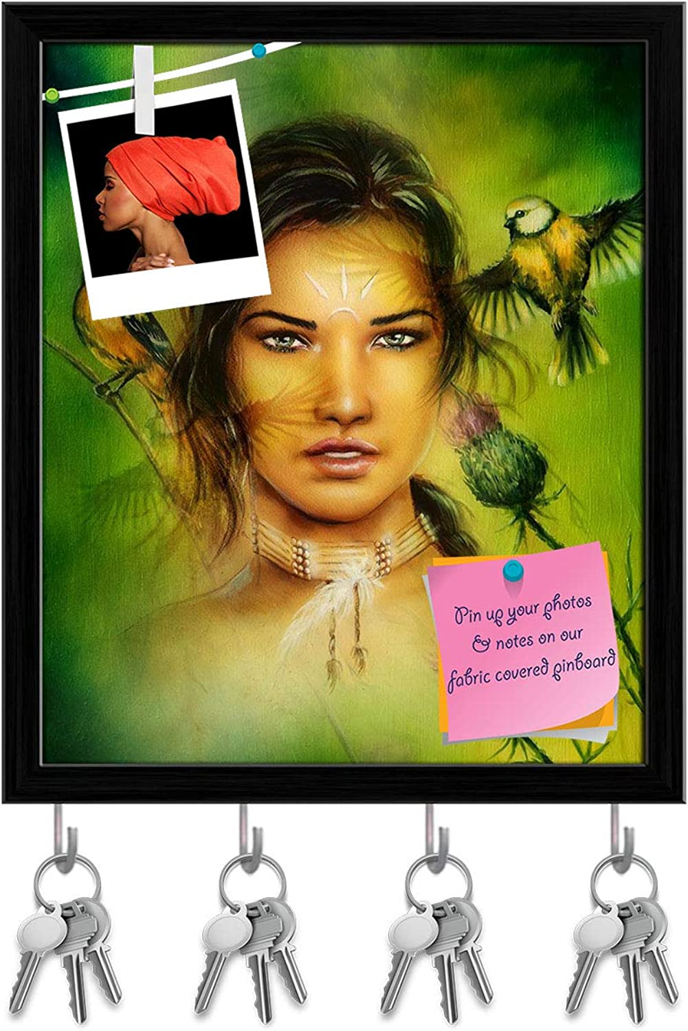 Artzfolio Young Indian Woman Wearing A Big Feather Key Holder Hooks   Notice Pin Board   Black Frame 16 X 18.9Inch