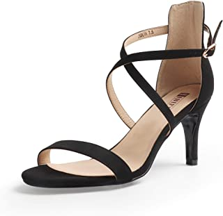 Women's Silvia Cross Strappy Sandals Heels 3 Inch Open Toe Ankle Strap Wedding Party Dress Heeled Shoes