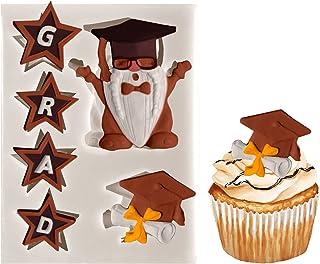 Whaline Graduation Silicone Molds Graduation Gnome Grad Cap Diploma Star Chocolate Candy Mould Gray Congrats Grad Fondant ...