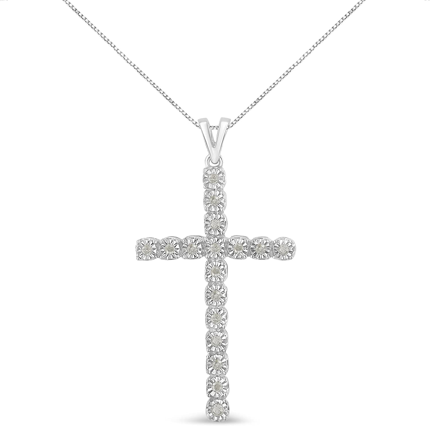 .925 Ranking TOP1 Sterling Max 69% OFF Silver 1 4 Cttw Miracle Set Diamond Unisex P Cross