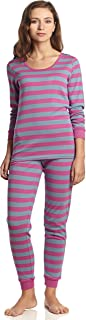 Leveret Women's Pajamas Fitted Striped 2 Piece Pjs Set 100% Cotton Sleep Pants Sleepwear (XSmall-XLarge)