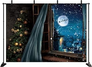 Secgo 7x5ft Christmas Backdrops Window Snow Scene Photography Night City Moon Santa Sleigh Family Party Decorations Background TD17