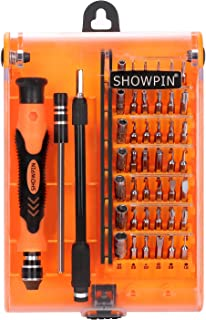 Showpin 45in1 Mini Precision Screwdriver Set Small Torx Set, Professional Repair Tool Kit Tweezer Handle and Hex Bit with T8 and T9 Bits Compatible for iphone, Tablet, Laptop, Camera, Console