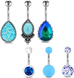 Belly Button Rings 6Pcs 14G Stainless Steel Teardrop Pear CZ Vintage Navel Rings Curved Barbells Bar for Women Girls Body Piercing Jewelry