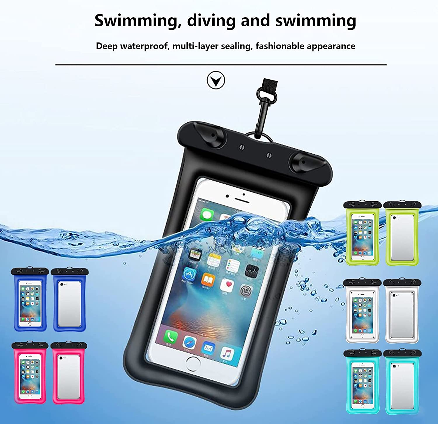 EKOUSN Waterproof Floating Pouch Dry Bag Case Cover for iPhone Cell Phone Touchscreen