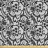 Lunarable Gothic Fabric by The Yard, Lace Pattern with Flowers Floral Classic Handwork Needlecraft Style Art Design, Decorative Fabric for Upholstery and Home Accents, 1 Yard, White Black