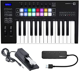 Novation Launchkey 25 (MK3) 25 Full Size Key MIDI Keyboard Bundle with Sustain Pedal and Knox Gear 4-Port USB 3.0 Hub (3 I...