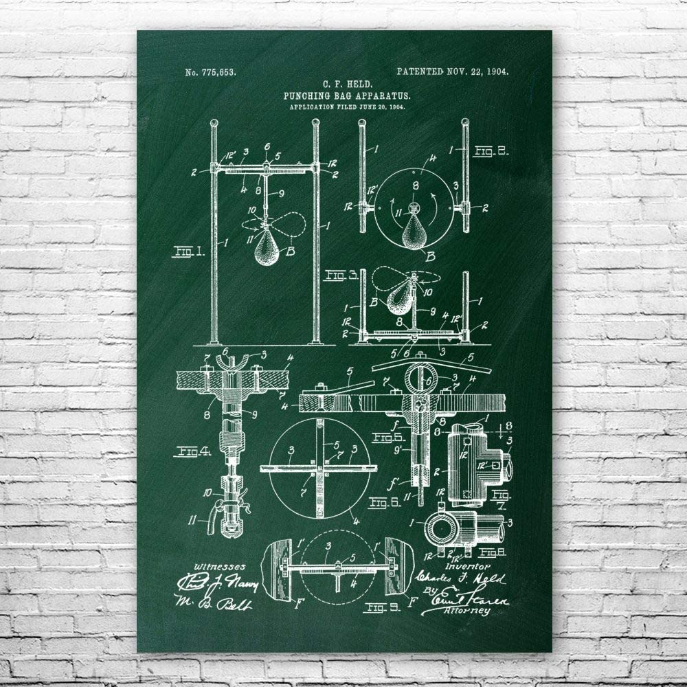 Patent Earth Boxing Speed Bag Art Print Gym Boxe Poster 出群 授与