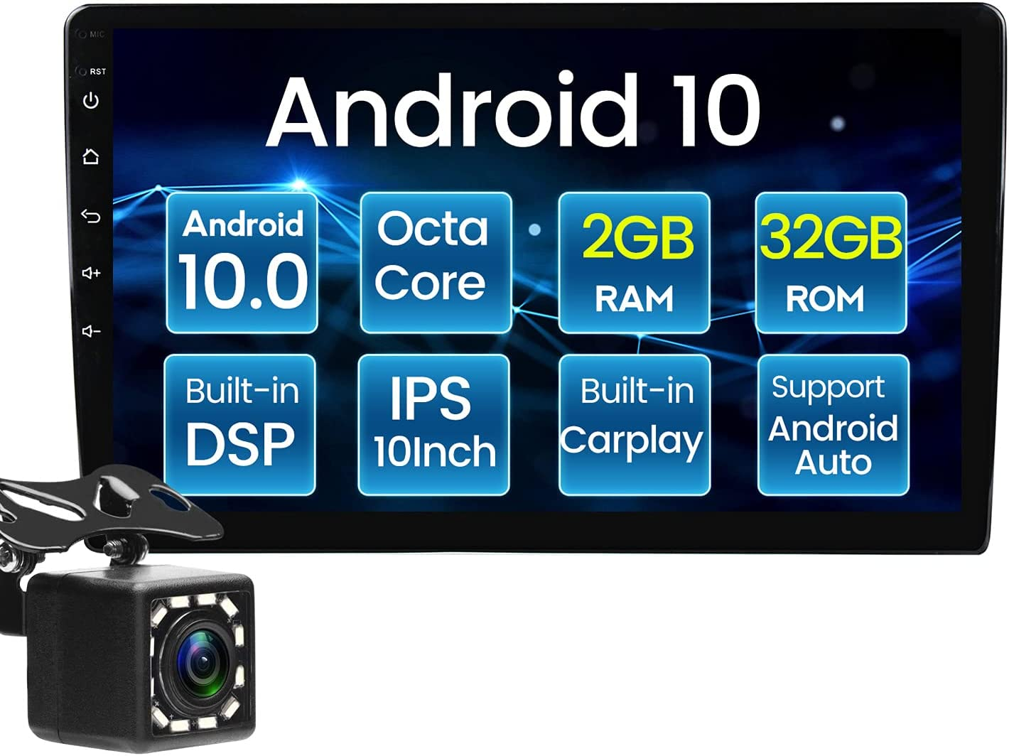 10 Inch Android 10.1 Car Stereo IPS DSP Compatible with Apple Carplay and Android Auto+4G SM Card Slot/WiFi+GPS Navigation +BT, Double Din Car Radio Multimedia Player+Backup Camera