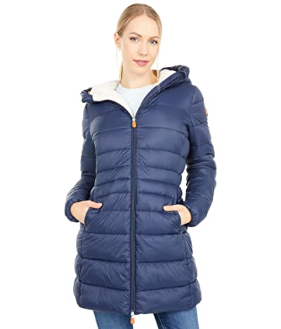 Save the Duck Giga Sherpa Lined Mid Length Puffer Coat (Navy/Blue) Women