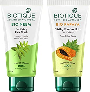 Biotique Bio Papaya Visibly Flawless Skin Face Wash For All Skin Types, 150ml & Biotique Bio Neem Purifying Face Wash for ...