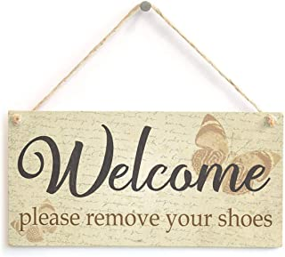 Welcome Please Remove Your Shoes - Butterfly Themed Shabby Chic Home Decor Sign 10