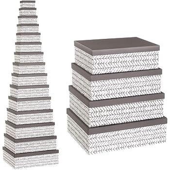 Cajas Grises de cartón Multiusos étnicas para decoración Factory - LOLAhome: Amazon.es: Hogar