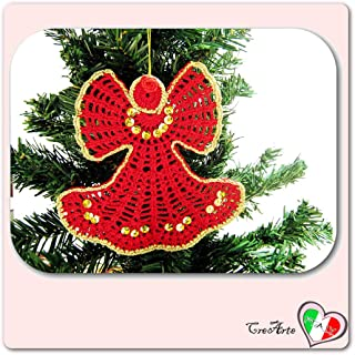 Red crochet angel for Christmas tree - Size: 6 inch x 6 inch H - Handmade - ITALY