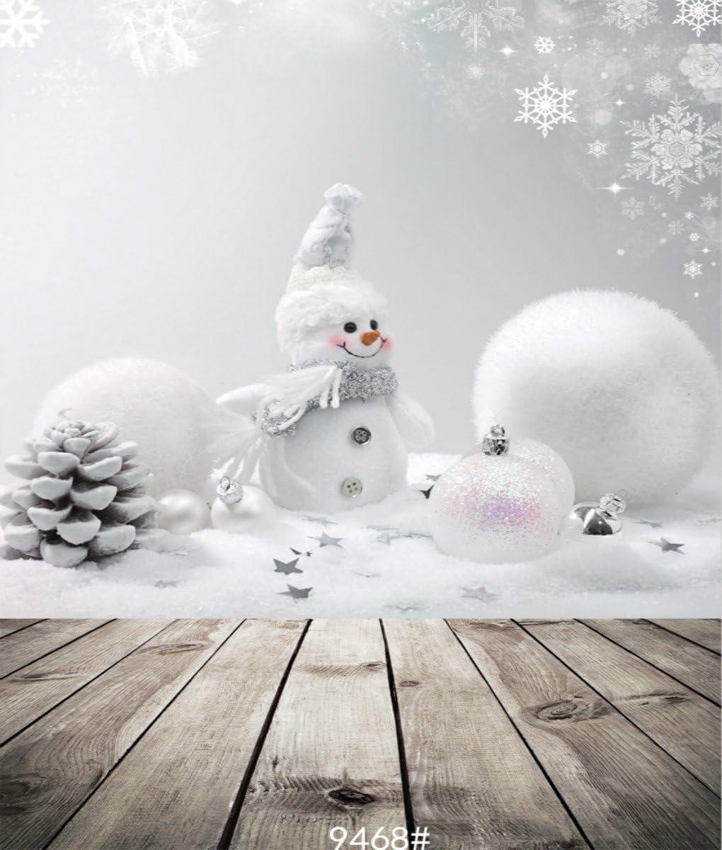 3X4FT-Christmas Snowman Photography Backdrops Wood Floor Photo Studio Background