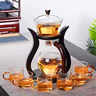 RORA Lazy Kungfu Glass Tea Set Magnetic Water Diversion Rotating Cover Bowl Semi-Automatic Glass Teapot Suit (6 Tea Cups)
