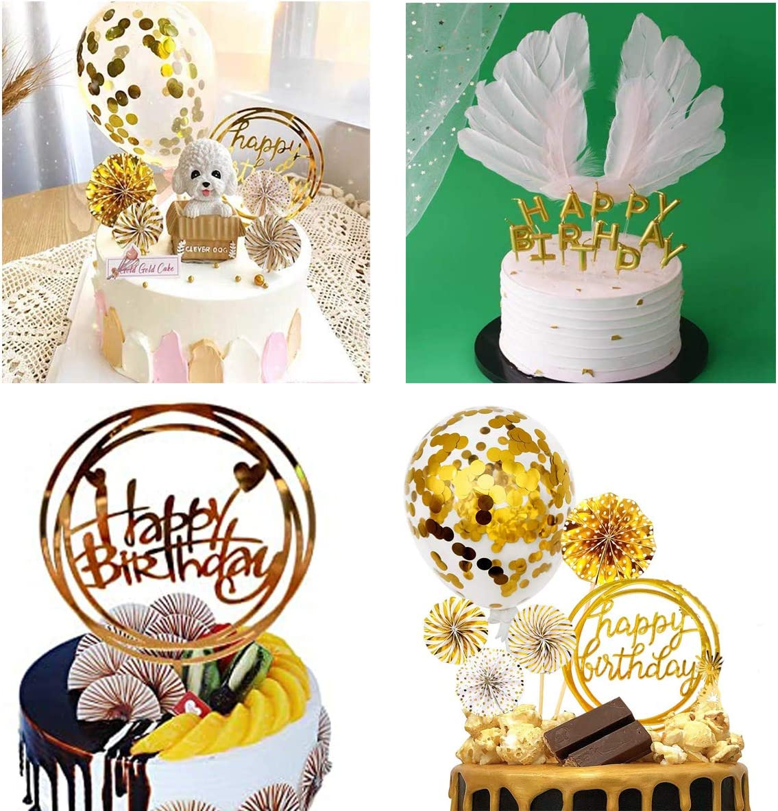 Fantasyon 24 Pcs Happy Birthday Cake Toppers Set Sliver Cake Candles Toppers Confetti Balloon Stars Happy Birthday Cupcake Topper Letters and Fan Cupcake Toppers