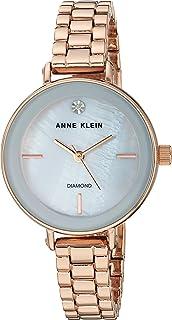 Anne Klein Womens Quartz Watch, Analog Display and Stainless Steel Strap AK-3386LGRG