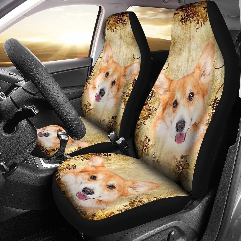 Cute Pembroke Welsh Corgi Dog Print Car Seat Covers