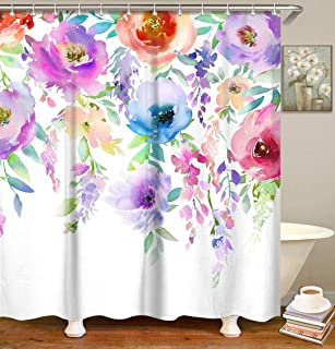 LIVILAN Floral Bathroom Curtain, Watercolor Shower Curtain Set with 12 Hooks Fabric Bath Curtain Home Decoration, 72x72 Inches Colorful