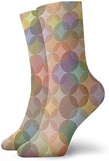 Abstracto-Círculo-Coloreado Calcetines cortos transpirables Calcetines clásicos de algodón de 30 cm para hombres Mujeres Yoga Senderismo Ciclismo