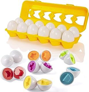 Huevos de Pascua a juego con soporte para huevos amarillos ? Juguetes educativos para niños y niños pequeños para aprender color y número de reconocimiento de Pascua regalo huevos de Pascua