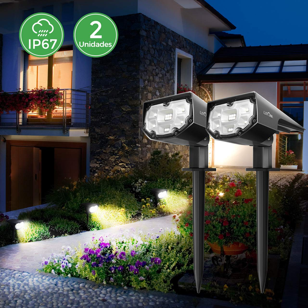 Luz Solar Exterior Jardin Impermeable IP67 Focos Led Exterior Solares 12 LED Inalámbrico 2 en 1 Lamparas Solares para Piscina Cesped Jardin Patio Calzada blanco frio (2 Unidades): Amazon.es: Bricolaje y herramientas