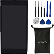 sunways Touch Digitizer LCD Display Screen Replacement Assembly with Housing Frame Compatible with Sony Xperia Z Ultra C6802 C6806 C6833-Black