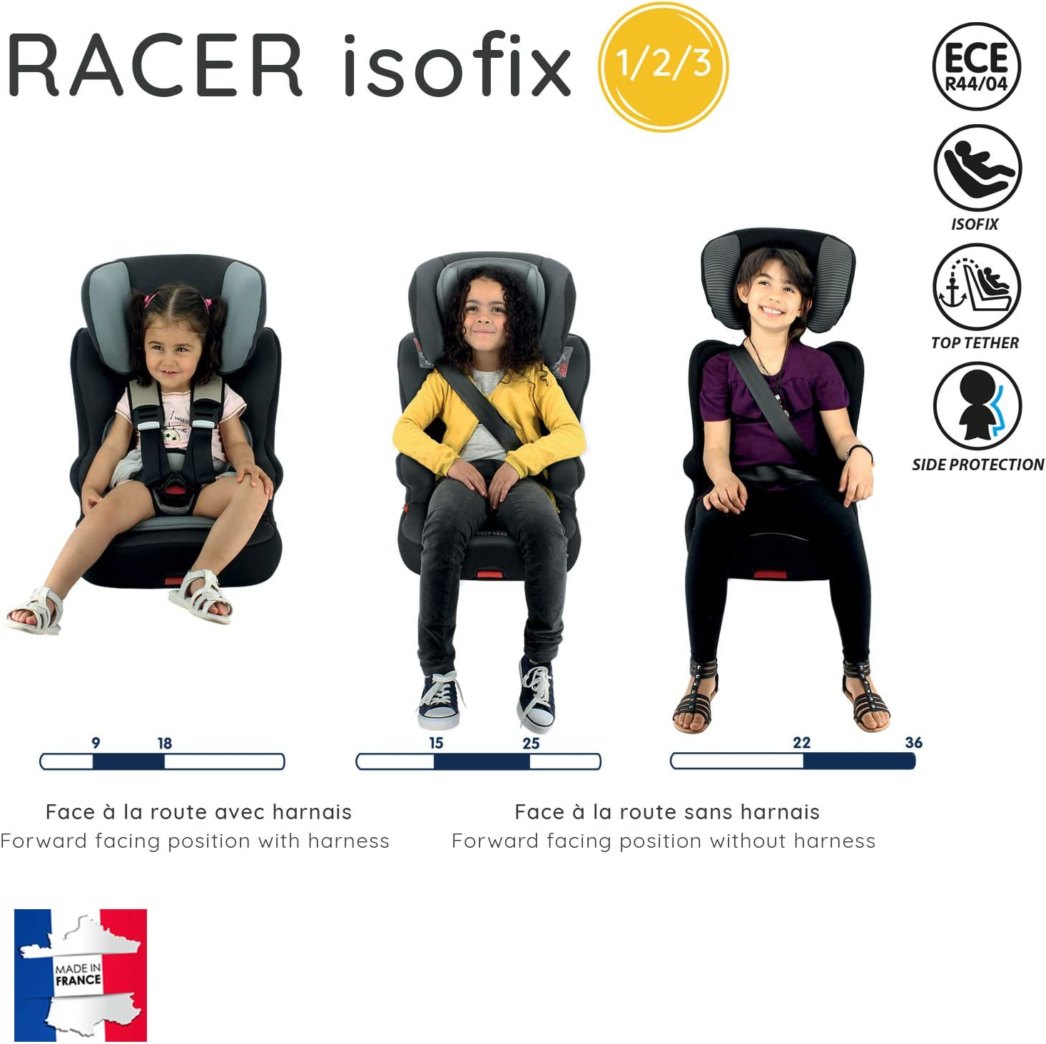 9-36kg protection lat/érale fabriqu/é en France Disney First Cars avec assise inclinable Si/ège auto isofix RACER groupe 1//2//3