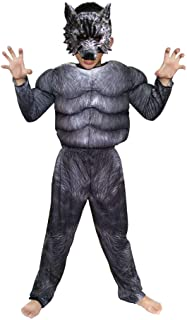 Boys Wolf Muscle costume Suits Child Werewolf Costume for Kids Halloween Wolf Costumes with Wolf Mask Wolf Dress up outfit