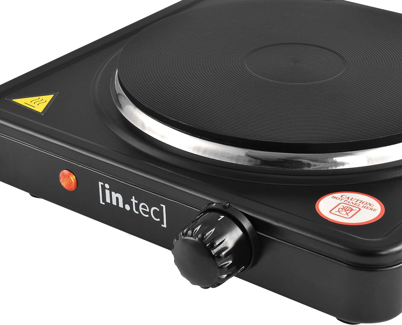 [in.Tec] Placa eléctrica de la Cocina con una Placa Portátil Hornillo eléctrico 1500 W Hierro Fundido Placa de cocción
