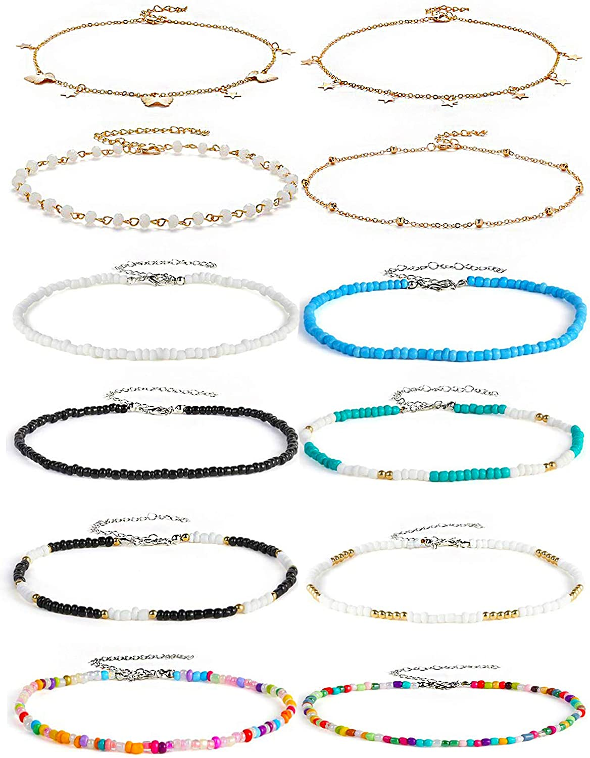 Beaded Choker Necklace for Women Chain Charm Choker Necklace Set Handmade Seed Bead Choker Summer Beach Jewelry for Women 12 Pcs