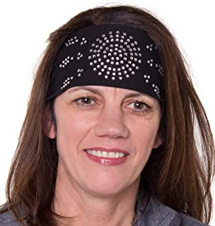Open Road Girl Hair Bandana: Biker Chick Tie-Back Stretchy Head Wrap: Sunburst (3 Colors)