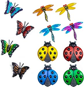 Foxany Metal Butterfly Wall Decor, 4 Butterflies and 4 Dragonfly, 4 Ladybugs Wall Decor Sculpture, Hanging Outdoor Garden Fence Art for Patio, Backyard, Home, Farmhouse, Set of 12