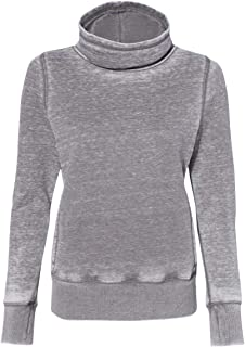J America Ladies' Zen Fleece Cowl Neck L Cement