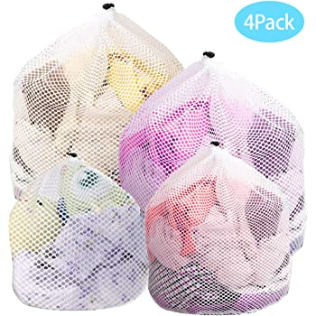 Drawstring Mesh Laundry Bag, Reusable Durable Laundry Net Washing Bag with Large Holes for Washing MachineClothes(4Pcs)