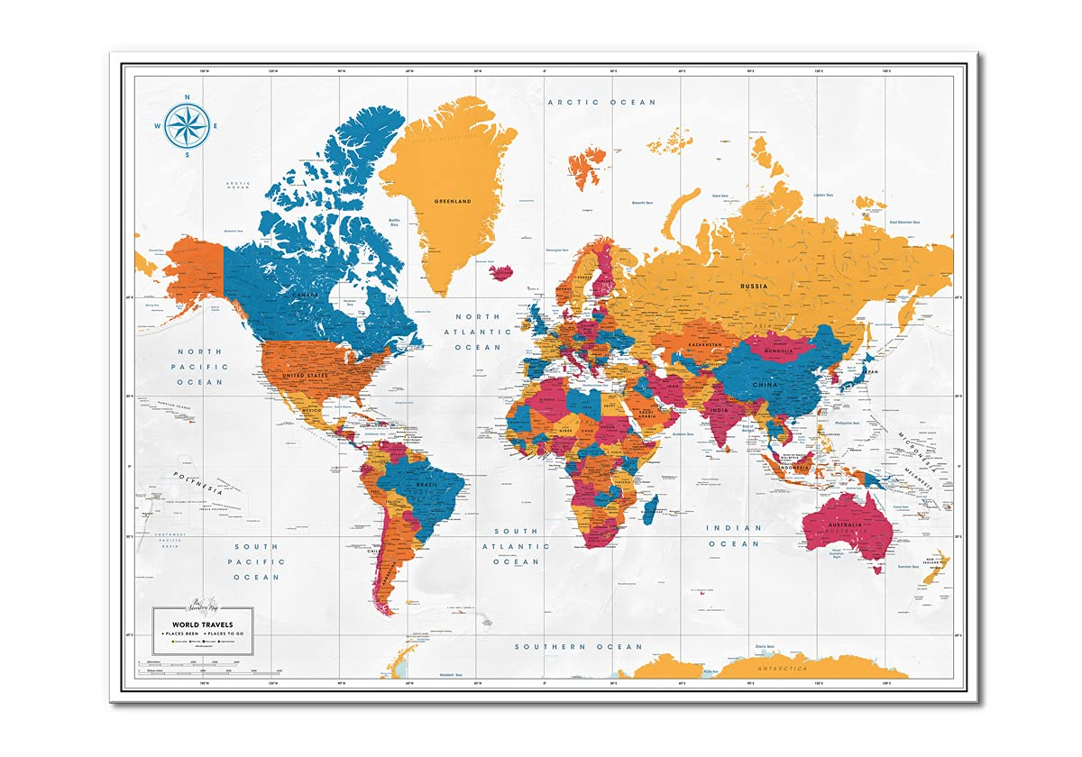 Colorful Max 88% OFF World Map Poster Jacksonville Mall with Plann Travel Pins Inspirational