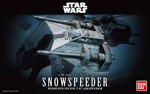 Bandai Wars-Snowspeeder-Bandai-01203 Star Wars Luke Skywalker Maquette, 1203, Blanc, 1/48