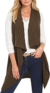 Sovoyontee Women Open Front Lapel Neck Vest Long Knit Cardigans with Pockets
