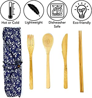Kitchen Ecologix Bamboo Utensils | Lightweight Reusable Utensils With Case | Eco Friendly Camping Cutlery Set In Pouch | Perfect Zero Waste Lunch Utensil Set For The Office, School & Travel