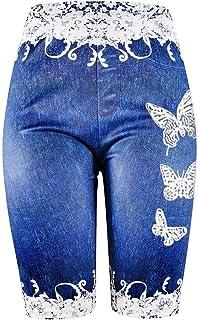 Summer Ladies Shorts Loose Casual Woman Jeggings Plus Size Skinny Butterfly Print Jeggings Faux Denim Jean