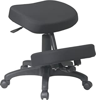 Office Star Ergonomically Designed Knee Chair with Casters, Memory Foam and 5 Star Base, Black
