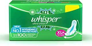 Whisper Ultra Clean Sanitary Pads for Women, XL+ 30 Napkins