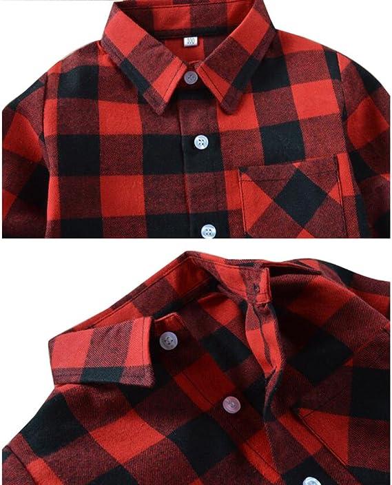Algodón Camisa para Bebè Niños Niñas Manga Largos Botones Shirt Tops Blusa de 2-14 años