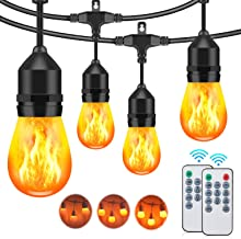 48FT Flickering Flame String Lights Outdoor, 3 Modes Commercial Waterproof Dimmable Patio Lights with Remote, 15+3 Shatter...