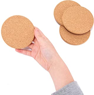 Absorbent Cork Drink Coasters Set of 12 Circles for Home Bar and Kitchen - Reusable, Eco-Friendly, Sturdy, Protects Tabletop and Furniture Surfaces