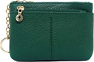imeetu Coin Pouch, Genuine Leather Change Purse Small Wallet with Keychain