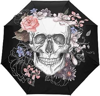 Wamika Rose Flowers Sugar Skull Skeleton Auto Umbrella Open Close Windproof Travel Umbrella Lightweight Compact Parasol Umbrellas Sun & Rain